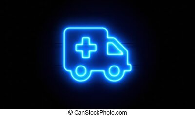 Ambulance neon sign appear in center and disappear after some time. Animated blue neon alphabet symbol on black background. Looped animation.