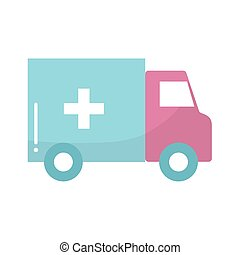 ambulance of a blue color with pink