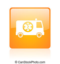 ambulance orange square glossy web icon