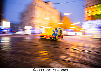 ambulance, på, nødsituation, hos, byen, sløre motion