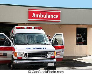 Ambulance - Paramedics car in front of the hospital