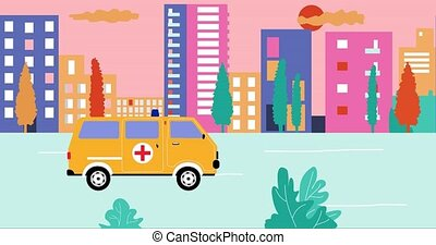 Ambulance past by empty streets in city during summer sunset. Outbreak Coronavirus in city. Cartoon animation, flat design, loop 4k.