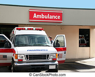 Ambulance - Paramedics car in front of the hospital