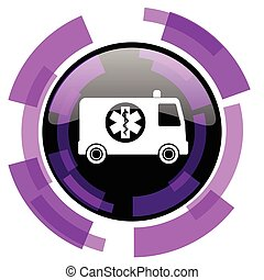 Ambulance pink violet modern design vector web and smartphone icon. Round button in eps 10 isolated on white background.
