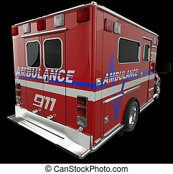 Ambulance: Rear view of emergency services vehicle on black