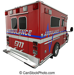 Ambulance: Rear view of emergency services vehicle on white