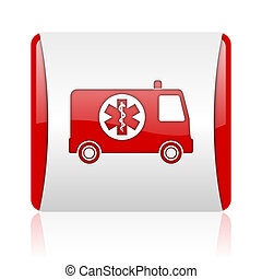 ambulance red and white square web glossy icon