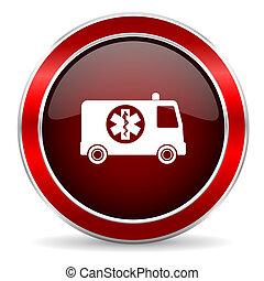 ambulance red circle glossy web icon, round button with metallic border