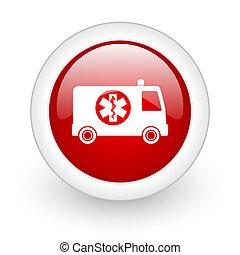 ambulance red circle glossy web icon on white background