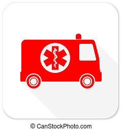 ambulance red flat icon with long shadow on white background