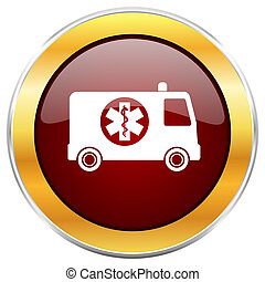Ambulance red web icon with golden border isolated on white background. Round glossy button.