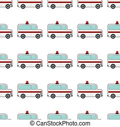 Ambulance seamless pattern in cartoon style isolated on white background vector illustration