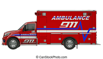 Ambulance: Side view of emergency services vehicle over white