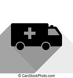 Ambulance sign illustration. Vector. Black icon with two flat gray shadows on white background.