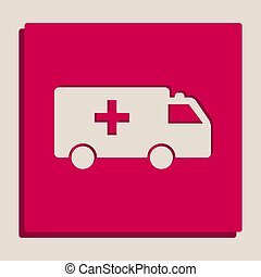 Ambulance sign illustration. Vector. Grayscale version of Popart-style icon.