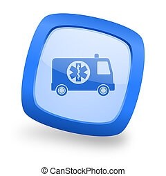 ambulance square glossy blue web design icon