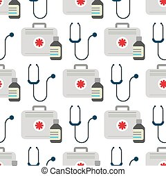 Ambulance stethoscope first aid kit vector medicine health emergency hospital urgent pharmacy pill seamless pattern background