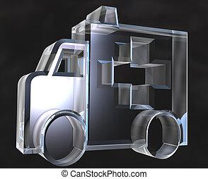 ambulance symbol in glass - 3d