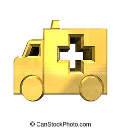 ambulance symbol in gold - 3d made