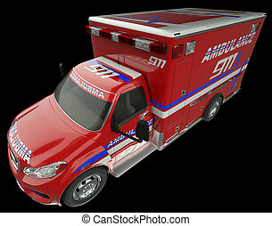 Ambulance: Top Side view of emergency services vehicle on black