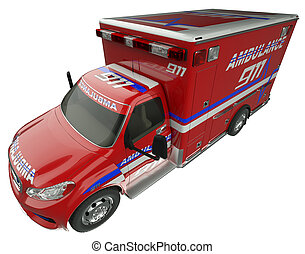 Ambulance: Top Side view of emergency services vehicle isolated