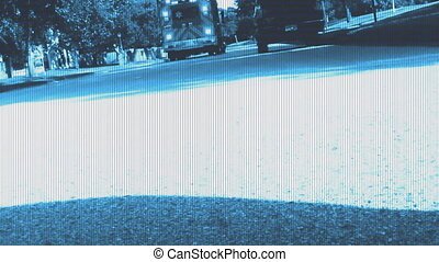 Ambulance traffic blue and effect footage - Traffic small...