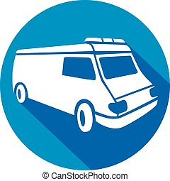 ambulance van flat icon