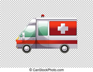 Ambulance van on transparent background