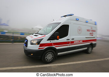 Ambulance van on way with motion blur