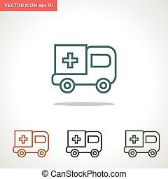 ambulance vector icon isolated on white background
