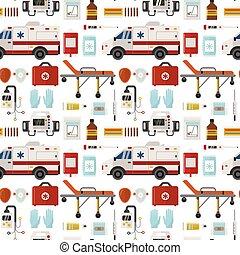 Ambulance vector medicine health emergency hospital urgent pharmacy pill support paramedic treatment seamless pattern background illustration