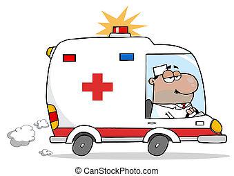 Ambulance Vehicle  - Hispanic Man Driving An Ambulance