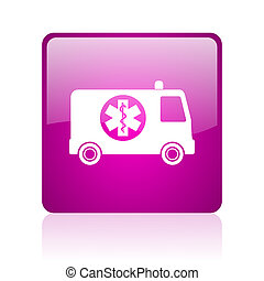 ambulance violet square web glossy icon