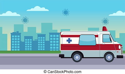 ambulance with covid19 particles on the city ,4k video animation