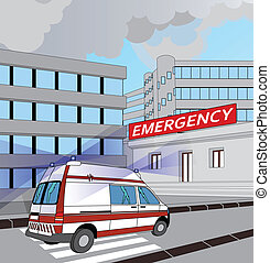 ambulance with flashing lights in the race to the emergency room
