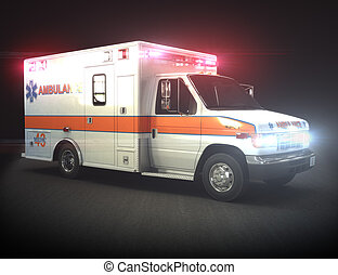 Ambulance with lights ,Part of a first responder series.