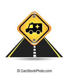 ambulance yellow road street sign