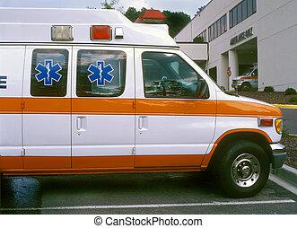 Multiple ambulances at the hospital ER entrance