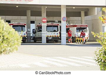 Ambulances parked at Vinalopo Hospital entrance in Elche