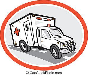 ambulancia, caricatura, vehículo emergencia