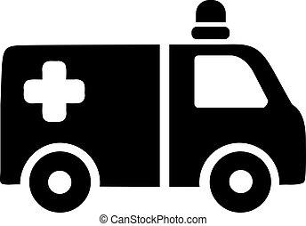 ambulancia, coche, icono