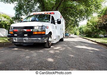 ambulancia, en, área residencial
