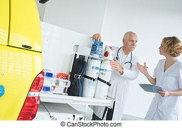 ambulancia, equipo, preping, engranaje