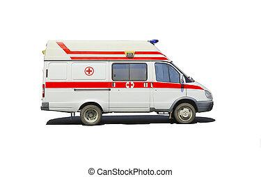 ambulancia, microbús, aislado