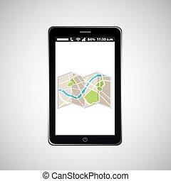 ambulant, kort, navigation, telefon