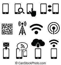 ambulant, wifi, sæt, ikon