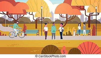 ambulante, al aire libre, bicicleta, actividades, relajante, gente, naturaleza, parque, el comunicarse, equitación