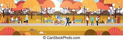 ambulante, al aire libre, bicicleta, actividades, relajante, gente, naturaleza, parque, el comunicarse, equitación, horizontal, bandera