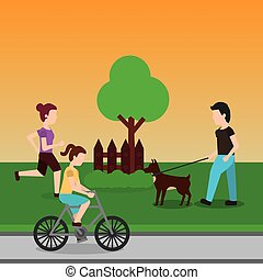 ambulante, bicicleta, gente, paseo, parque, perro, corriente