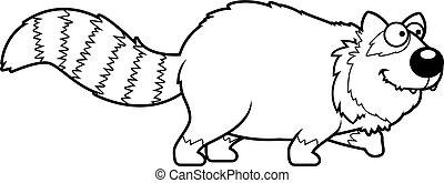 ambulante, caricatura, panda rojo
